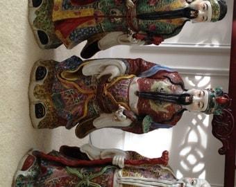 Vintage Sanxing - Large Chinese Figures; Shou-Hsing (Health/Longevity), Fu-Hsing (Happiness), & Lu-Hsing (Wealth)