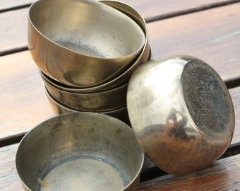 Pair of Small Brass Bowls/Dishes - Heavy Base/side
