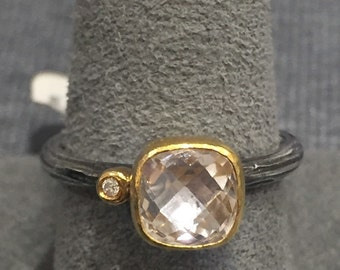 White topaz, gold and silver ring
