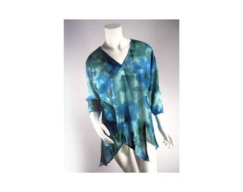 Anthony Fairy Blouse with Pixie Hem Sequin Sparkle Blue Watercolor Wash, Medium, Vintage with Tags