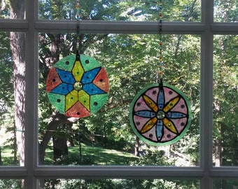 Stained Glass Mandala, teen Craft, Teen Craft Kit, Child Craft Kit, Mandala Craft Kit,, Mandala Suncatcher, Family Crafts, Yoga Craft