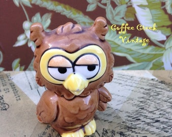 Vintage Owl Figurine- Brown and Yellow