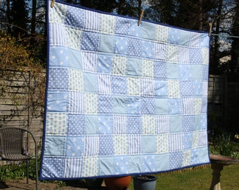 Blue patchwork quilt/ throw