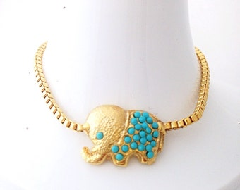 Tiny lucky elephant bracelet - gold plated bracelet - good luck charm - best friend elephant bracelet - turquoise beads - adjustable