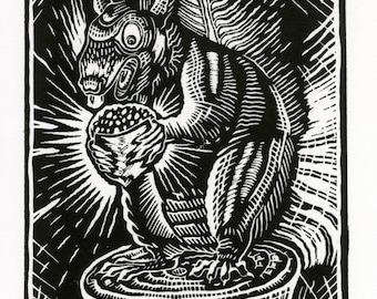 Magic Acorn / linocut print