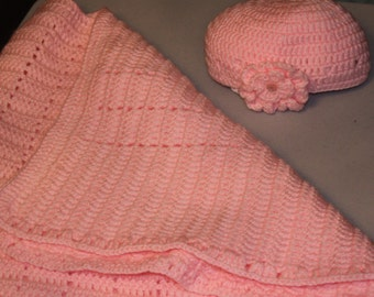 Crochet Baby Blanket with Hat
