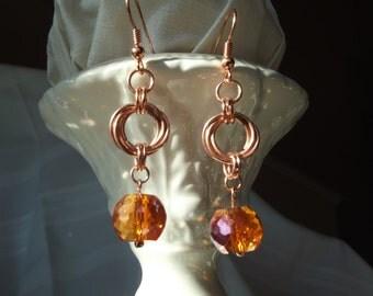 Mobius Drop Earrings- Burnt Orange