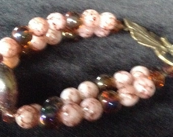 Double Srand Pink and Brass Bracelet
