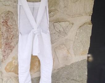 White linen overalls harem romper