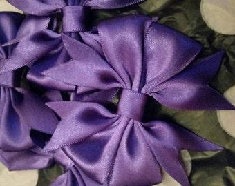 Purple handmade boutique bow clip