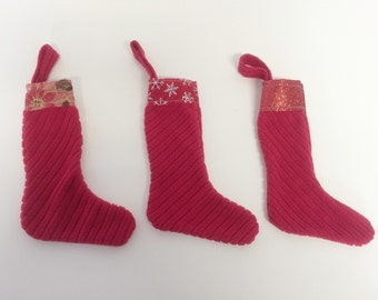 CLEARANCE SALE Handmade Refreshed 3 Christmas Ribbon Top Trimmed Stockings Set!