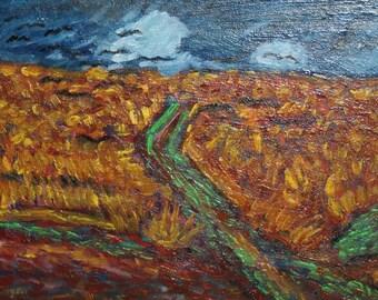 Post Impressionist oil painting landscape signed