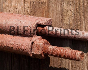 Rusty bolt picture, rusty bolts, art deco,tool picture, fine art print, old farm, silo,art deco, wall art