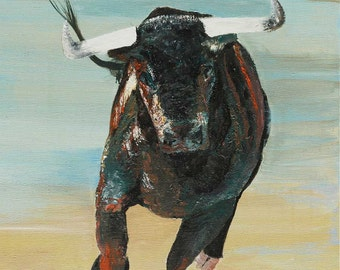 Bull, Contemporary, Western, Painting, Landscape, Art
