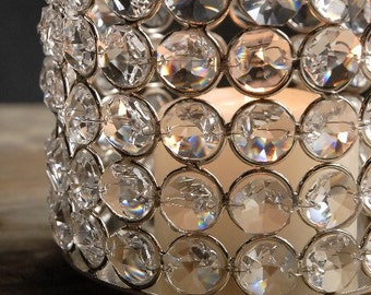 Crystal beads candle holder