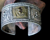 OLD INDIA SILVER - Seated Ganesh Story-Teller Tribal Bracelet