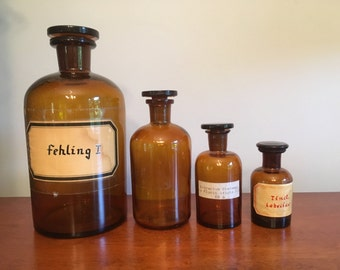 Set of Four Vintage Amber Glass Apothecary Bottles// Small Brown Glass Bottles with Glass Stoppers
