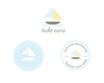 Pre made mini logo branding package-Submark logo-Watermark logo-Hand drawn boat logo-Nautical logo design-by whitecottagedesignco