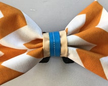 "Dog Bow Tie, Chevron White and Mustard Brown Custom Ribbon, Medium Size Bow Tie (5"" length by 3 1/2' wide)"