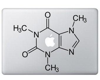 Caffeine Vinyl Sticker - Caffeine decal - Macbook Stickers - Caffeine Vinyl Decal - Caffeine Formula Macbook Decal, Caffeine Sticker