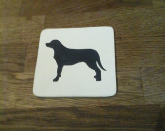 Set of 4 dog sillohouette coasters