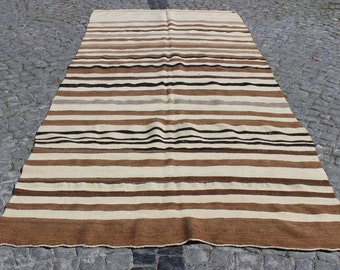 "White and Brown Rug,Natural Turkish Rug,Vintage Home Decor,Decorative Rug,Handmade Rug,142""x62"" inches,362x157 cm"