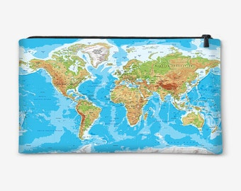 Cosmetic bag, Pouch, Pencil Case, Purse with Globe Print, Geography print gift for her gift ideas
