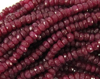 "3mm faceted genuine red ruby rondelle beads 14"" strand S1 35141"