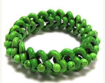 "10% SALE 20mm green turquoise stretch bracelet 8"" 16435"