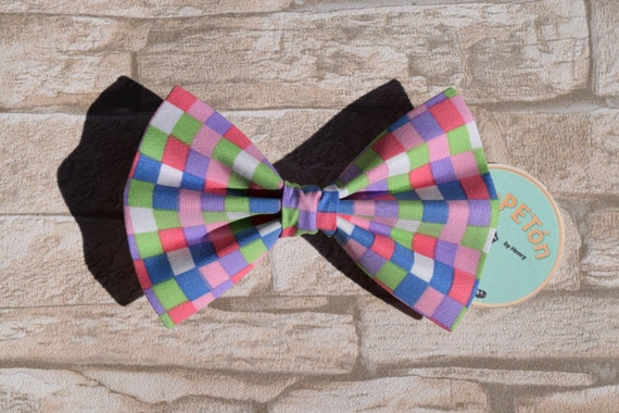 "Bow Tie Bowtie ""Lilac Chequered"" for dogs, cats or other pets, coloured chequered"