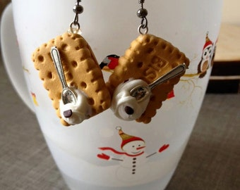 Earrings biscuit with that spoon in fimo