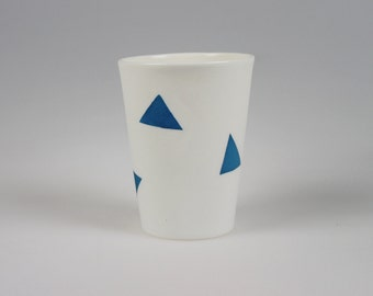 Geo Cup - White Porcelain with Blue Triangles