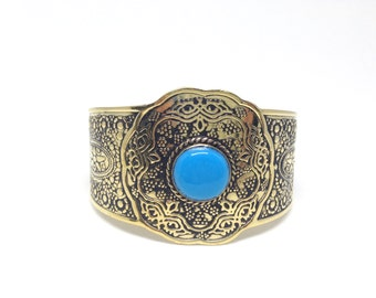 Compelling Egyptian Vintage Style Handmade Bedouin Siwa Costume Jewelry Bracelet, Brass Ethnic