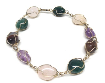 Gorgeous Vintage Multicolored Genuine Gemstone Bracelet Gold Tone Wire Wrapped Caged Multi Color