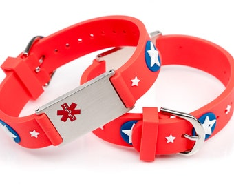Amazing looking medical emergency bracelets for kids, allergy bracelets, alert bracelet kids