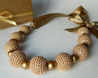 Beige crochet necklace.  Bridal jewelry. Bridesmaid jewelry. Necklace on ribbon.
