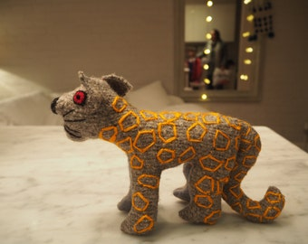 A grey cheetah with orange markings  -  Soft toy  - exquisite hand made woolen animals with character