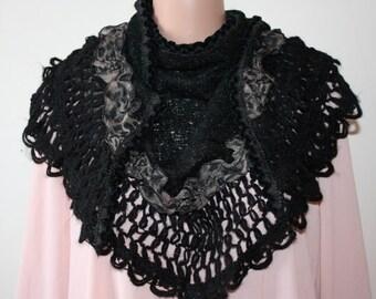 Triangle Shawl Black Crochet Shawl Fashion Shawl