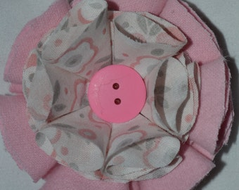 pink and grey flower hair clip