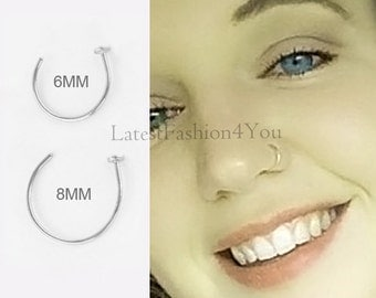 6mm 8mm Diameter Extra Thin Small Tiny Silver Hand Made 925 Silver 0.6mm 22g Open Nose Ring Disc End, Nose Hoop, Nose Ring, Nose Stud