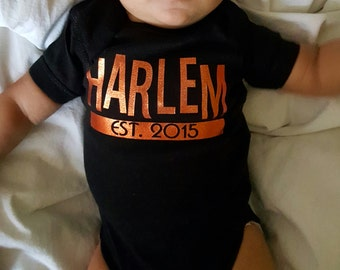 Custom Onesie HARLEM EST - Original Customize with childs name and year