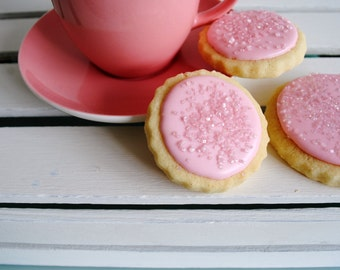 Iced Mini Biscuits / Pink / Edible Gift / Biscuits / Sweet Treat / Tea and Biscuits