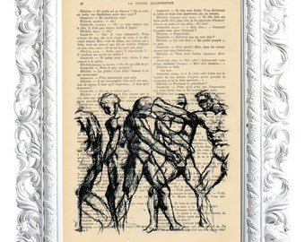 FASHIONING MEN. Print on French publication of illustration. 28x19cm.