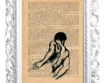 Young man back. Print on French publication of illustration. 28x19cm.