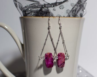 One of a Kind Magenta Stone Beaded Trapeze Earrings/ Gift/ Organic Earrings/ Natural/ Nature Earrings/ Hand Made Jewelry/ Vintage/ Home Made