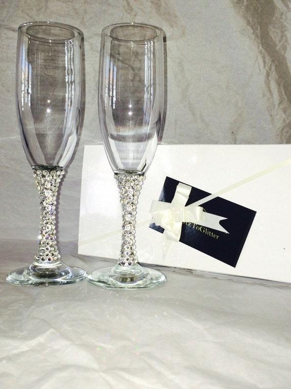 Items Similar To Champagne Flutes Swarovski Crystals Stem