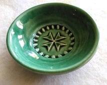 Vintage, green, studio pottery, pin tray, studio pottery trinket dish, trinket bowl, St Johns cross, Malta, trinket dish, homeware, bowl,