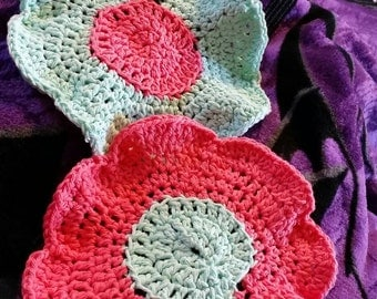 Two flower power dish rags or wash cloths