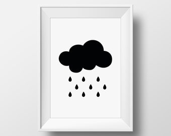 Printable Modern Rain Cloud Art Print - Monochrome - Minimalist -Kids Room or Baby Nursery Wall Art - Childrens Wall Decor -Weather -DIGITAL