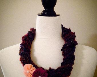 Purple Floral Crochet Necklace